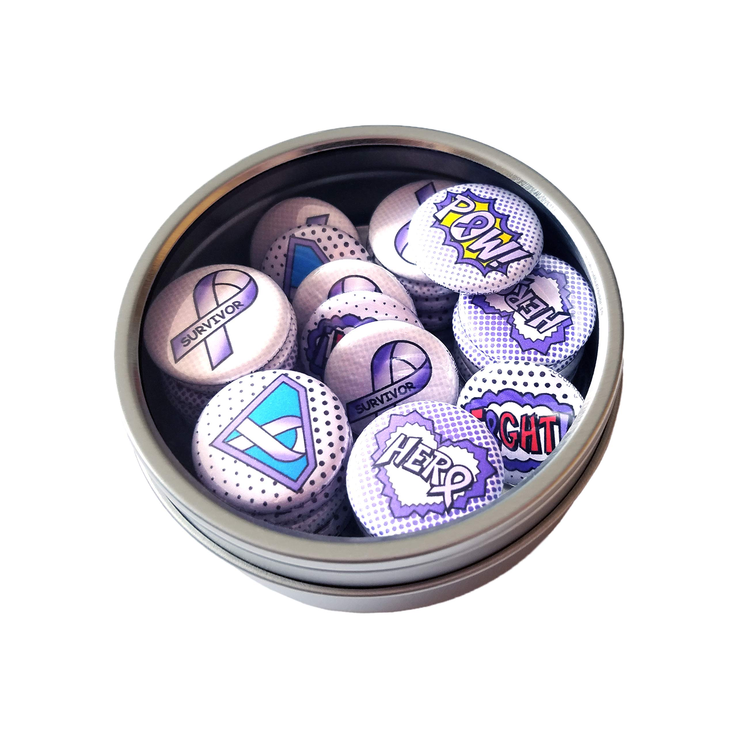Superhero Awareness Pins - LAVENDER. All Cancer Awareness, Craniosynostosis, Epilepsy, Gynecological Cancer, Hypokalemic Periodic Paralysis, Infantile Spasms, Rett Syndrome. (1'' Pins, 30 Piece Set) by ILMS (Image #4)