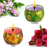 amasky Scented Candles-Scented Candle Stress Relief Aromatherapy Weddings Travel 4.5 Ounce per Tin Made Natural Soy Wax 2 Fragrances-Lavender Rose Aromatherapy Candle(2 Packs)