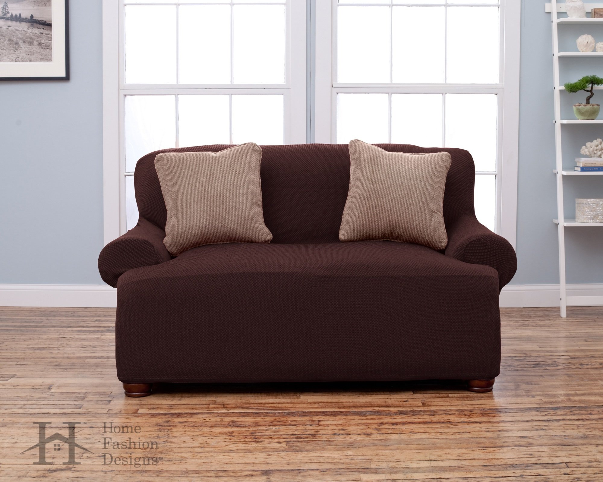 Savannah Collection Basic Strapless Slipcover. Form Fit, Slip Resistant, Stylish Furniture Shield / Protector Featuring Lightweight Fabric. By Home Fashion Designs Brand. (Loveseat, Chocolate)