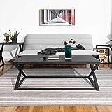 FurnitureR Mesa de centro, mesa de cóctel, fácil de montar, mesa auxiliar industrial con escritorio de madera y marco de meta