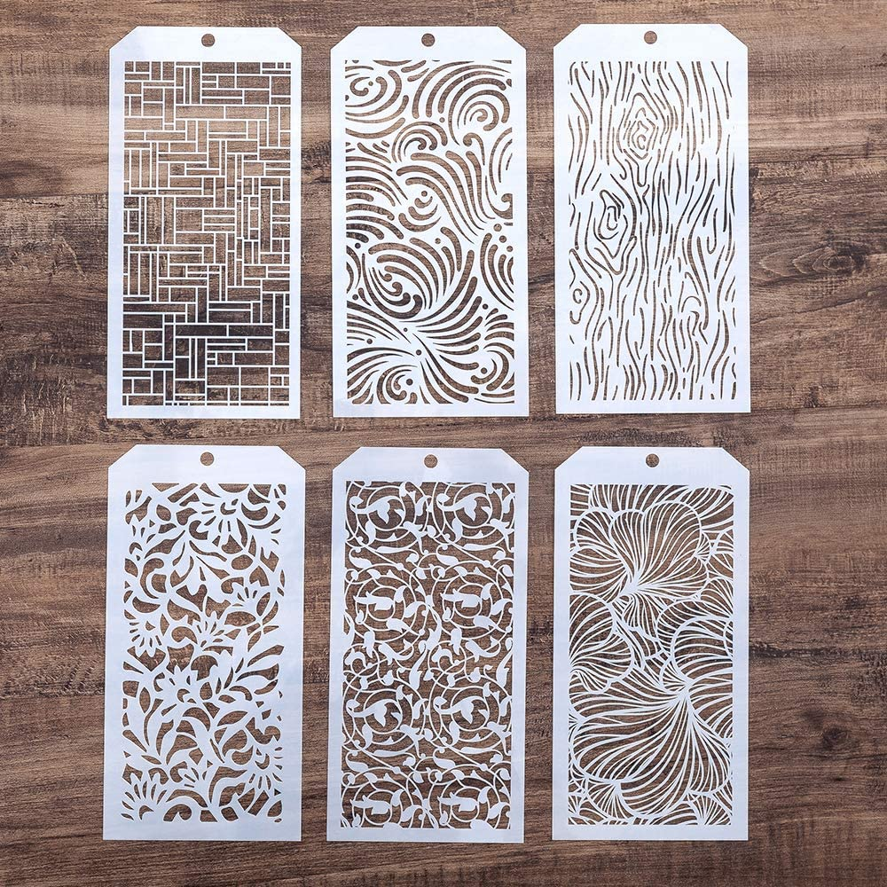DIY Decorative Stencil Template for Scrapbooking Paiting on Wall Furniture Crafts,Set of 6 (Tree Grain)
