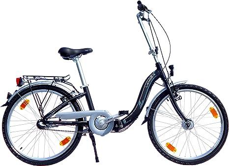 LANDER bicicleta plegable 24 pulgadas (=61) Marco de Aluminio dinamo de buje de 3 marchas Equipamiento STVZO Negro: Amazon.es: Deportes y aire libre
