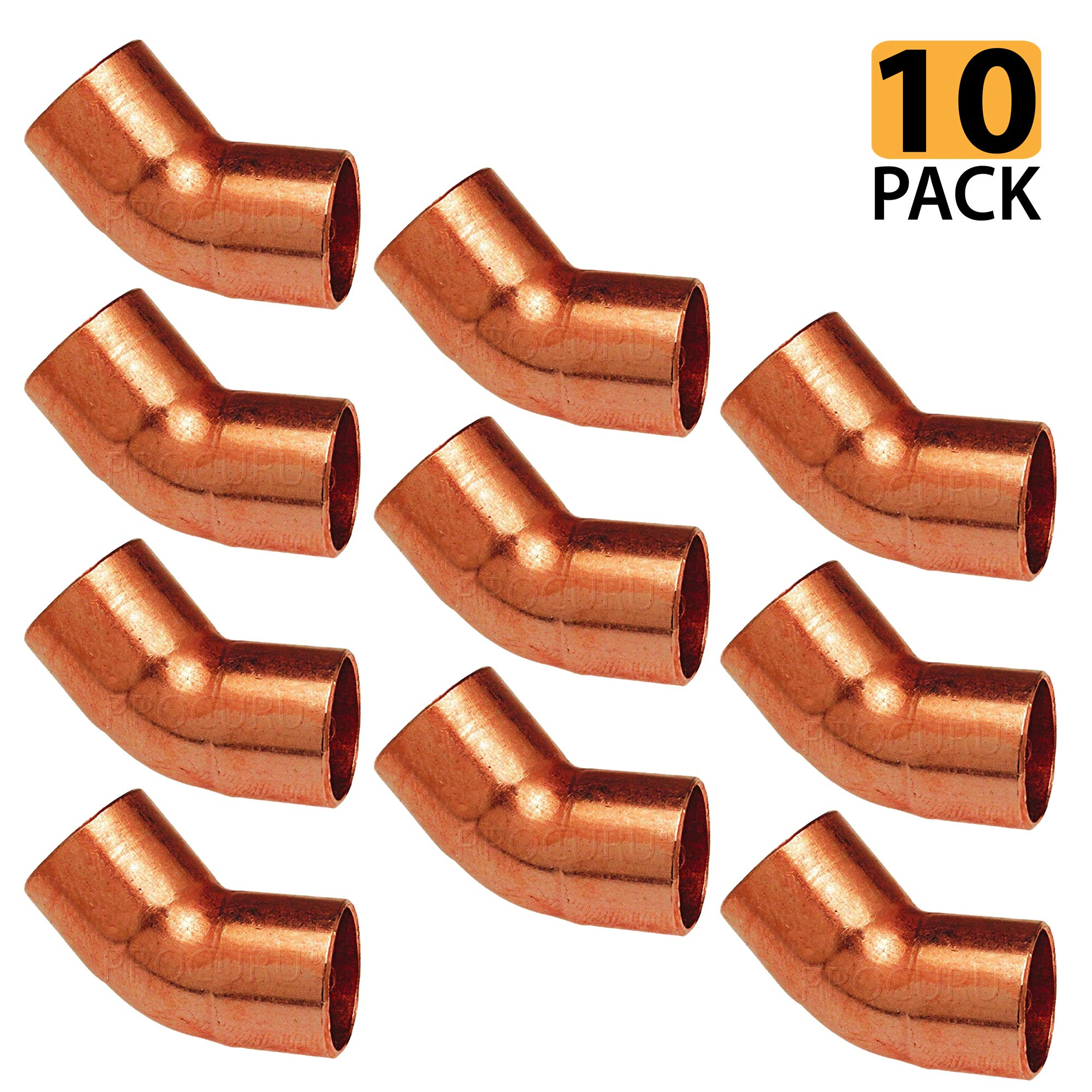 [10-Pack] PROCURU 3/4-Inch Copper 45-Degree Elbow CxC | Professional Grade Plumbing Copper Fitting, NSF Lead Free Certified (3/4-inch (0.75''), 10-Pack)