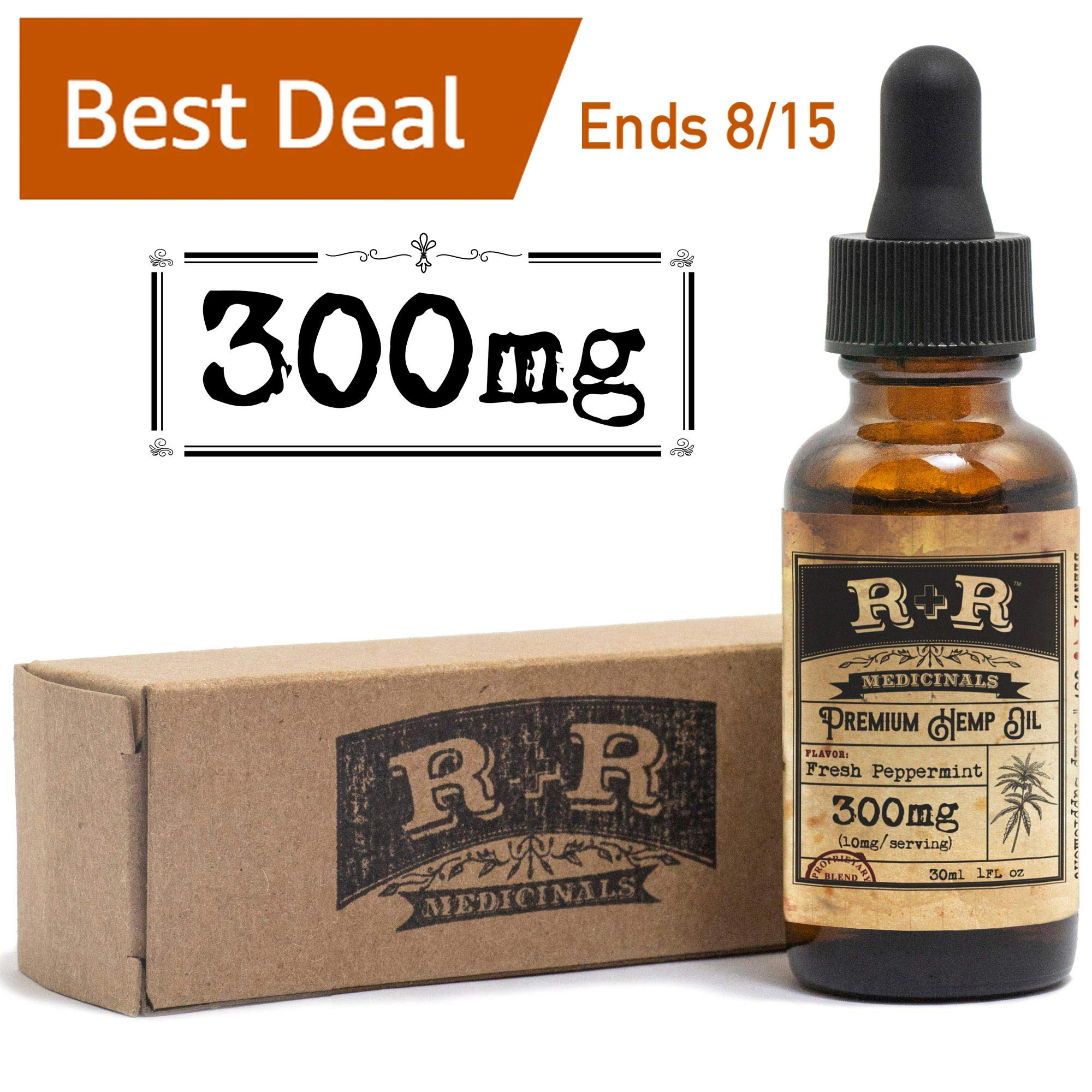 Best Hemp Oil for Pain Relief :: Hemp Oil for Anxiety, Stress Relief, Mood Support, Healthy Sleep Patterns, Skin Care (300mg) : R+R Medicinals