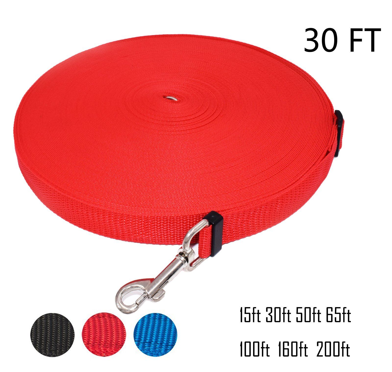 Zhixuanke 1in wide by 15ft 30ft 50ft 100ft 200feet long Nylon Training Leash - For Large,Medium and Small Dogs - Long Lead - Great for Training, Play, Camping, or Backyard (30 FT Red, Red)