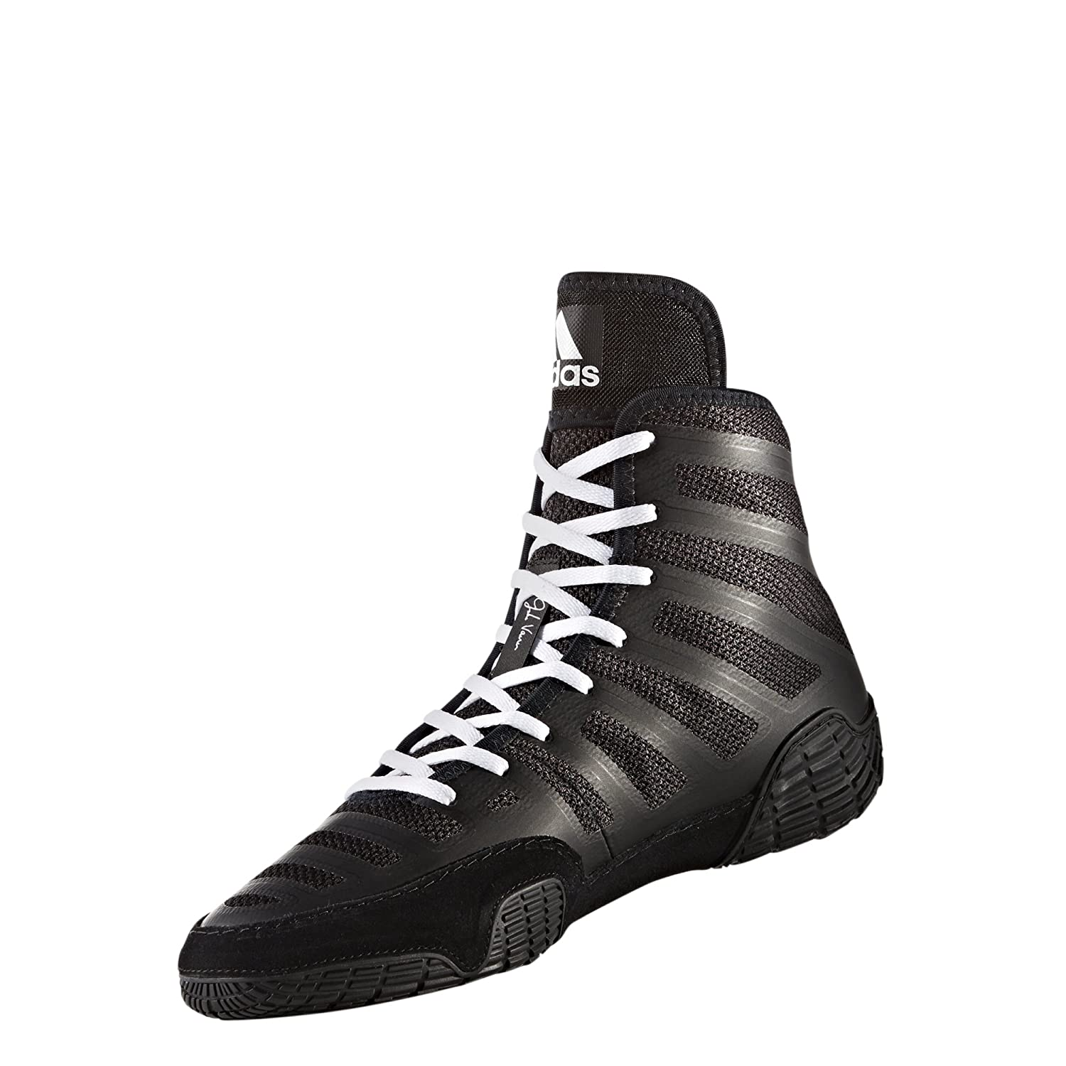 adidas Performance Men's Adizero Wrestling XIV Wrestling Shoes B06Y2SC31Z 4 D(M) US|Black/White/Black