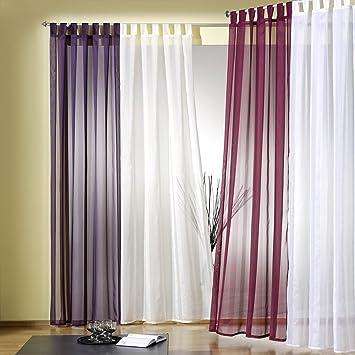 Gardinen Aufhängen amazon de gardine vorhang schlaufenschal transparent aus