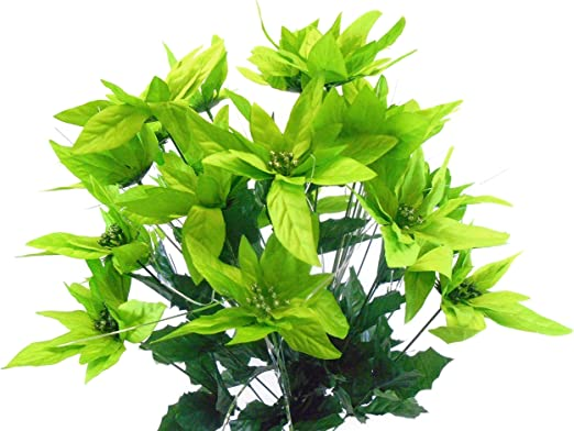 "LIME Christmas Poinsettia Bush 24 Artificial Silk Flower 24/"" Bouquet 030LIM"
