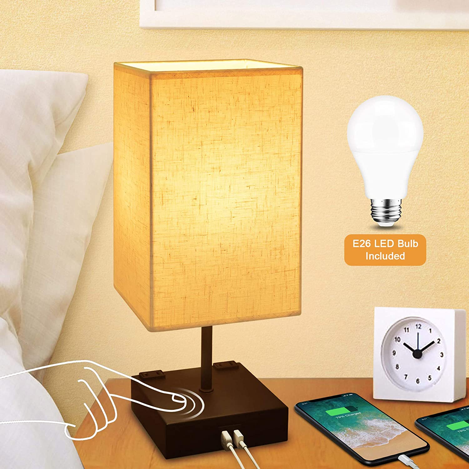 Dimmable 3-Way Touch Control Bedside Lamp,Cotanic Modern Table Lamp with USB Charging Ports,Square Fabric Linen Lampshade,Decorative Nightstand Lamps for Bedroom,E26 LED Bulb Included