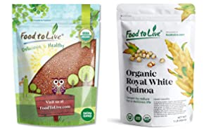 Organic Quinoa Bundle - Organic Red Quinoa, 1 Pound and, Organic Royal White Quinoa 1 Pound - Non-GMO, Kosher, Vegan