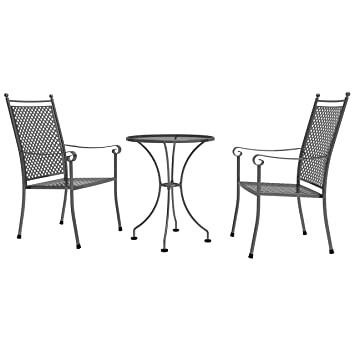 Royal Garden Excelsior Round Steel 2 Seater Bistro Set   Grey