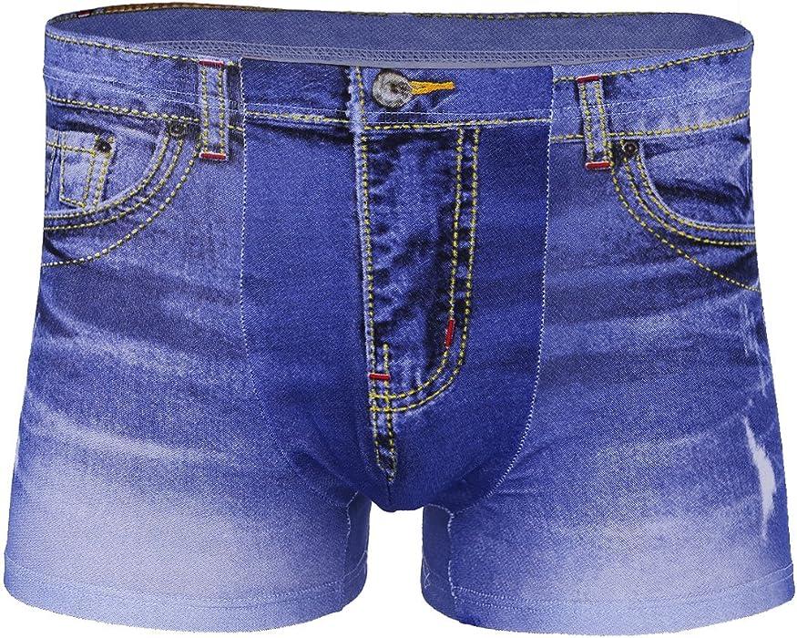 a76ae66b721 Freebily Men s Fake Denim Jean Printed Cotton Boxer Briefs Shorts Underwear  Blue Large(Waist