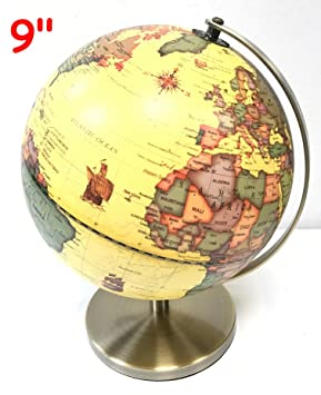 9 23cm vintage antique style rotating swivel globe world map 9quot 23cm vintage antique style rotating swivel globe world map educational toy table desk decor gumiabroncs Image collections