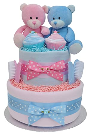 Pretty Baby Twins Girl Boy Nappy Cake Shower Maternity Gift
