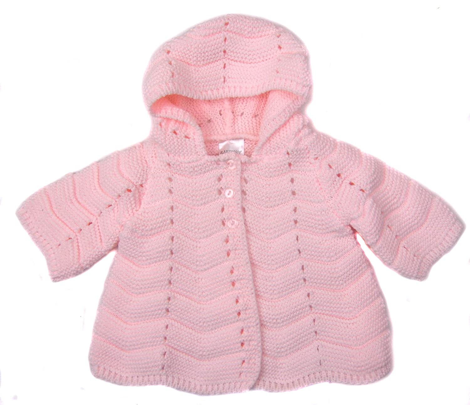 Baby Cardigan Hooded Jacket Traditional Styling Pink or White Pink)