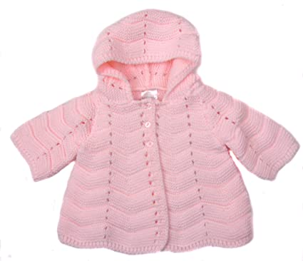 bbf335f58 Baby Cardigan Hooded Jacket Traditional Styling Pink or White (3-6 ...