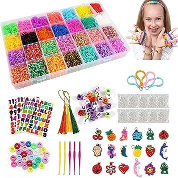 LEADSTAR Caja Pulseras Gomas, 10000+Pcs Loom Bands DIY Kit, Elástica Bandas Box para Hacer Pulseras De Colores Loom Set, Juego de Fabricación Joyas de Amistad, Regalo de Juguete Creativo para Niños: Amazon.es: