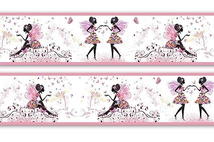 Bordüre Mädchen Schmetterlingselfe Kinderzimmer, Größe: 520cm x 15cm,  Tapetenbordüre, Wandbordüre, Borte, Kinderzimmer