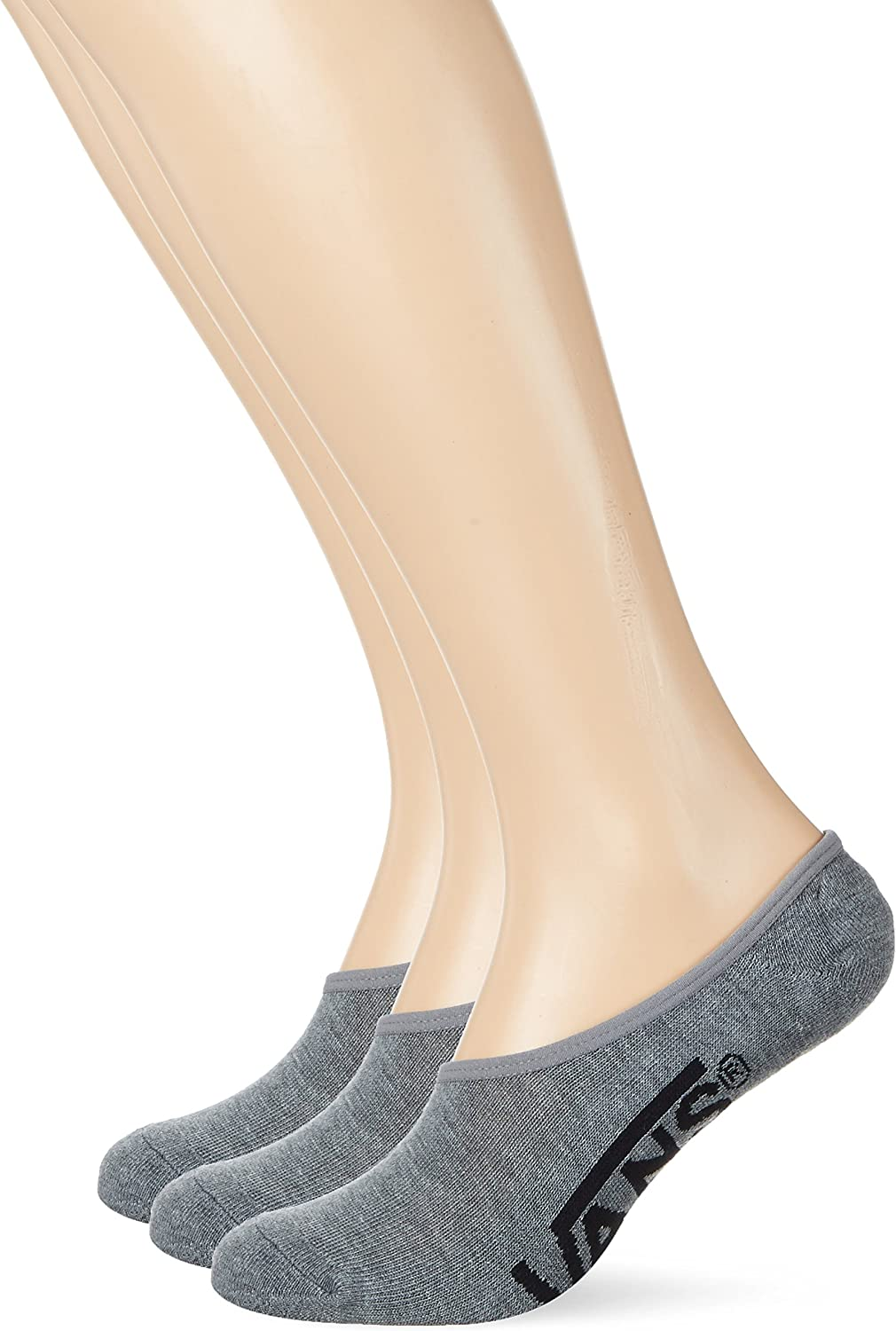 Vans Men's No Show Socks Heather Gray with black lettering - 3 pairs