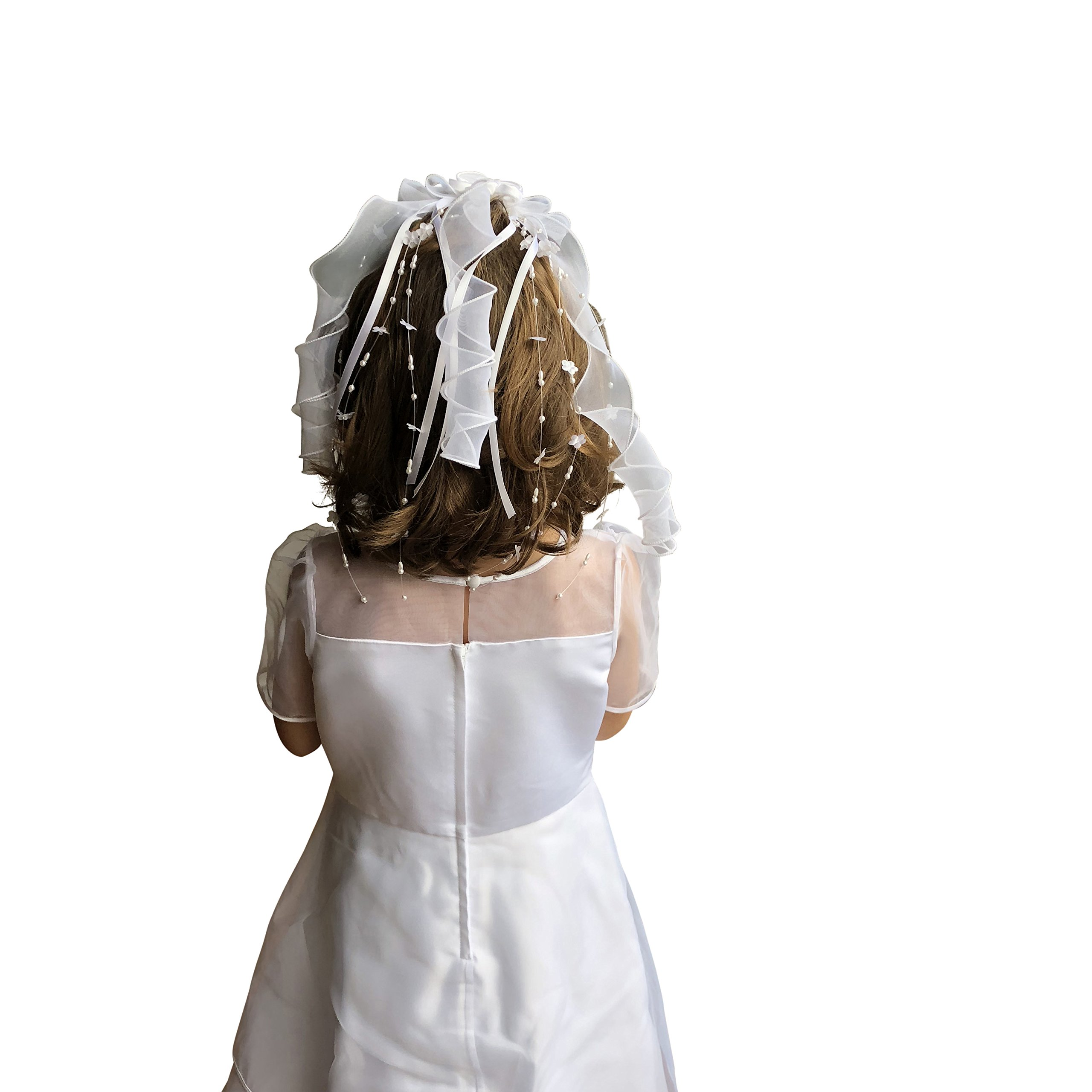 First Communion Veil White Foral Ribbon with Pearl from VGI by VGI (Image #2)