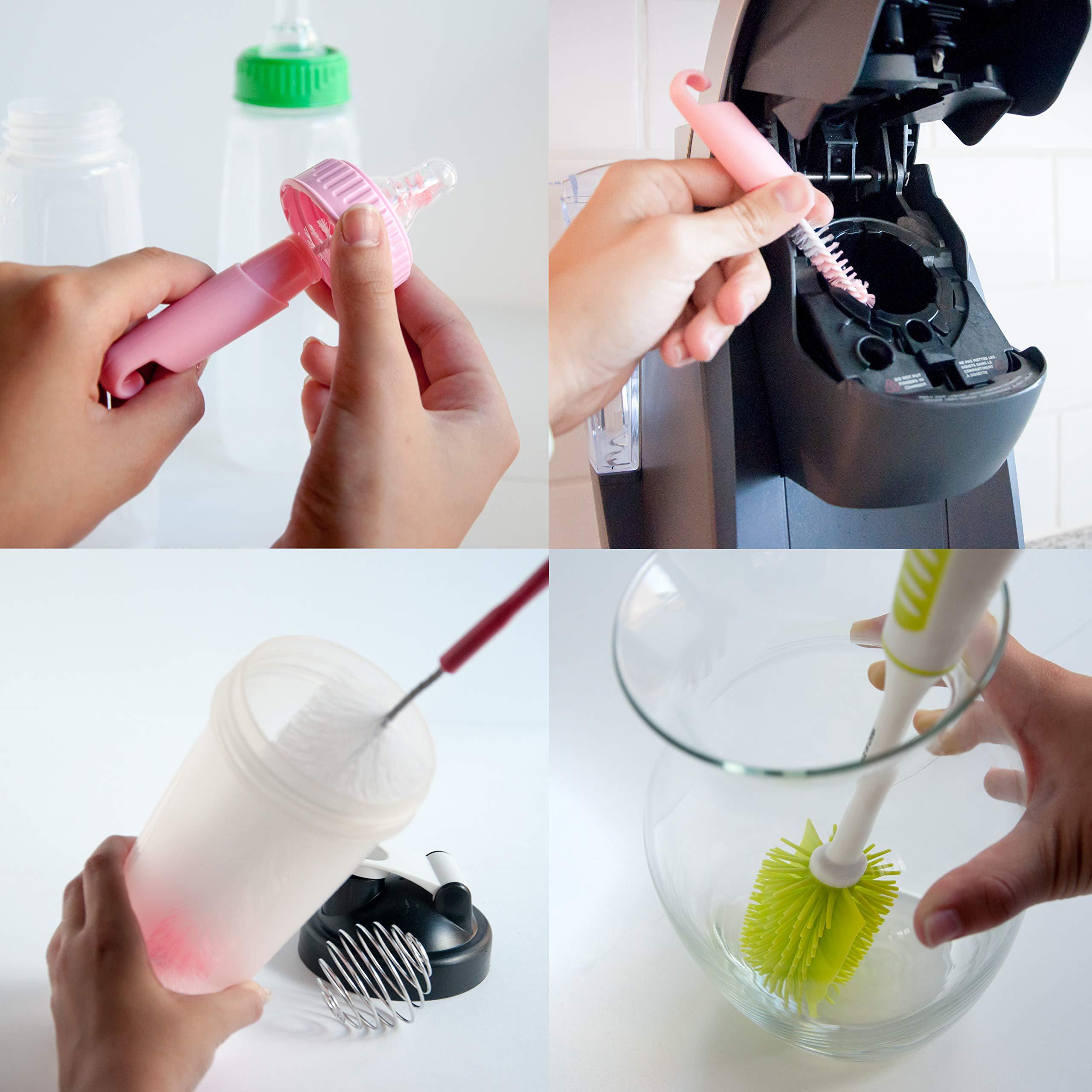 Bottle Brushes for Cleaning - 4 Pcs of Silicone and Vinyl Tube Bottle Brush Set | Nipple Cleaning Brush, Narrow Neck Bottle Brush, Long Handle, BPA Free, Dishwasher Safe by Innovative Technology Products Corp (Image #2)
