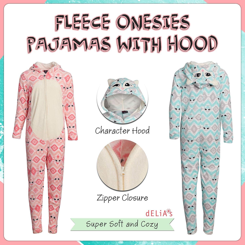 Sleep On It Girls Micro Fleece Onesie Pajamas with Character Hood