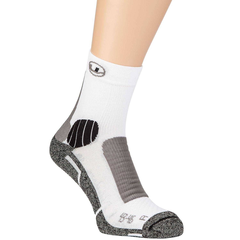 Ultrasport Advanced unisex knöchelhohe Laufsocken, rechts/links Fußbett, Coolmax Ausstattung, Knöchelschutz, Achilles Protektoren, Polsterungen im Zehenbereich, reibungsfreie Lintoe Naht