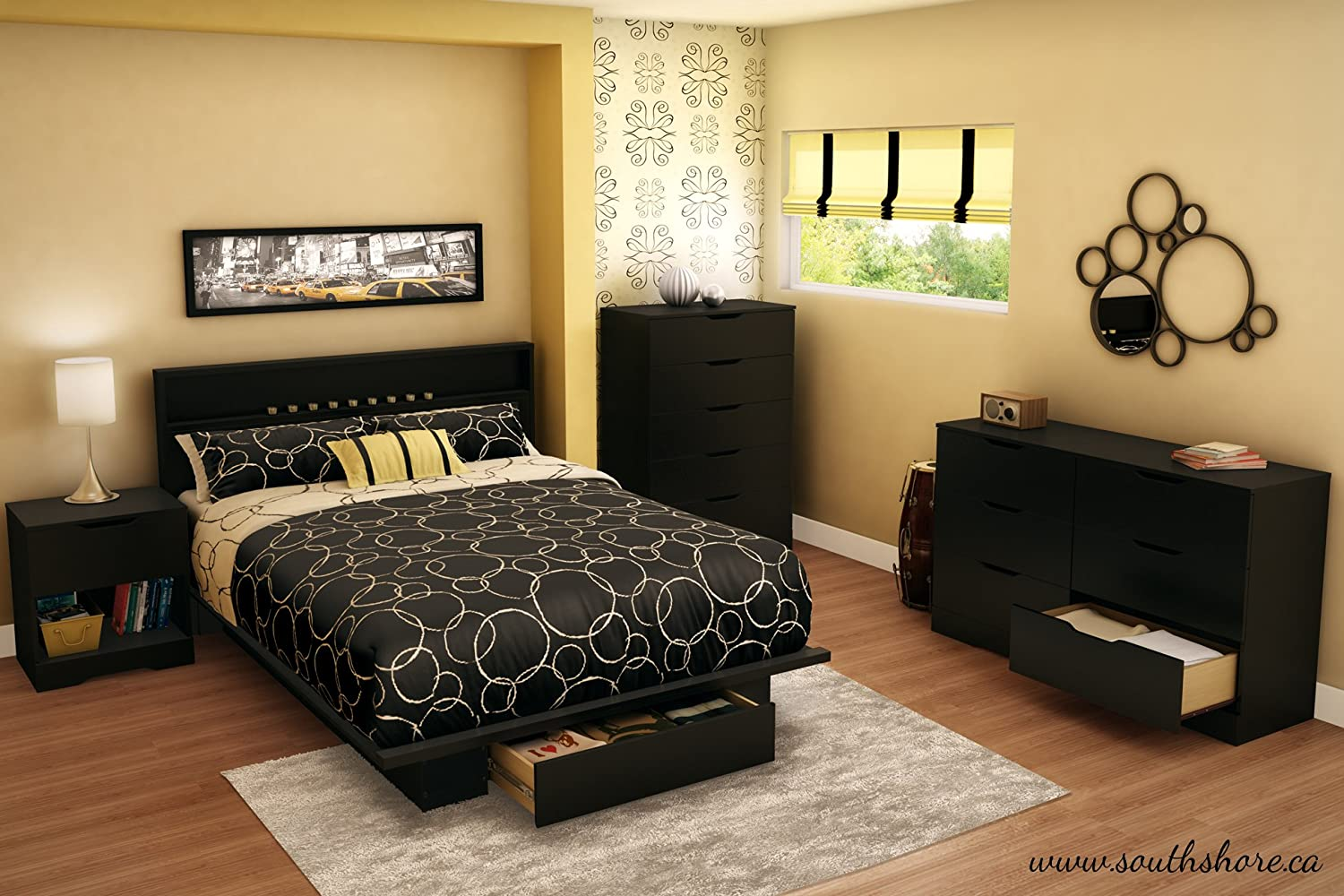Platform Bedroom Furniture Amazoncom South Shore Trinity Collection Platform Bed With