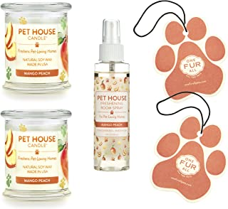 product image for One Fur All 100% Natural Soy Wax Candle, 20 Fragrances - Pet Odor Eliminator, Up to 60 Hours Burn Time, Non-Toxic, Eco-Friendly Reusable Glass Jar Scented Candles (Value Pack, Mango Peach)