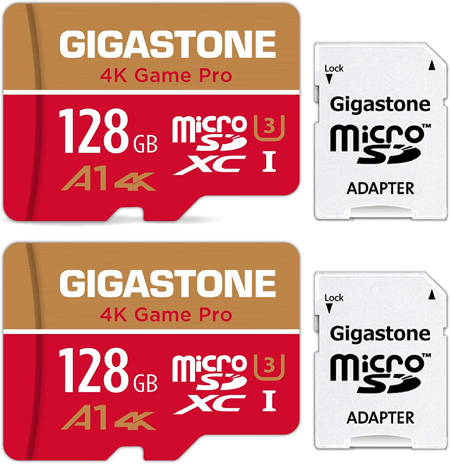 Gigastone 2er Pack Speicherkarte Microsd Karte 128gb U3 A1 4k Full Hd Video Für Kameras Dashcam