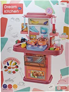 لعبة مطبخ بناتي يحتوي علي صنبور مياه يصدر موسيقي واضاءه المقاس 70في 47سم