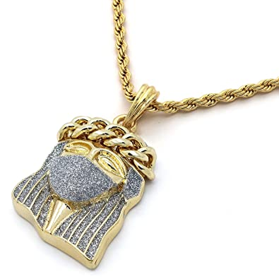 plated jesus necklace jewelryfresh piece gold products triple large