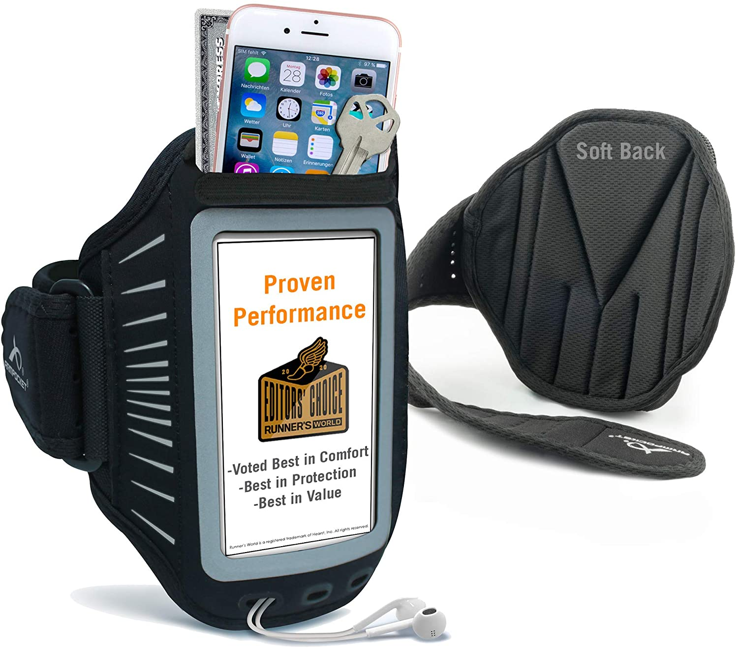 Phone Armbands for Running | Armpocket Racer Plus Ultra Thin Phone Armband | iPhone 8 Plus, 7 Plus, 6 Plus, Galaxy S7 Edge, Pixel 4a, Phones Without Cases up to 6.3 Inches | Black Large Strap
