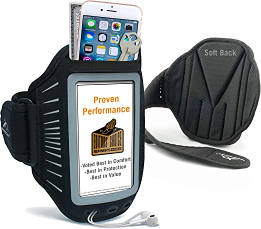 Amazon Com Phone Armbands For Running Armpocket Racer Plus Ultra Thin Phone Armband Iphone 8 Plus 7 Plus 6 Plus Galaxy S7 Edge Pixel 4a Phones Without Cases Up To 6 3 Inches Black Medium Strap