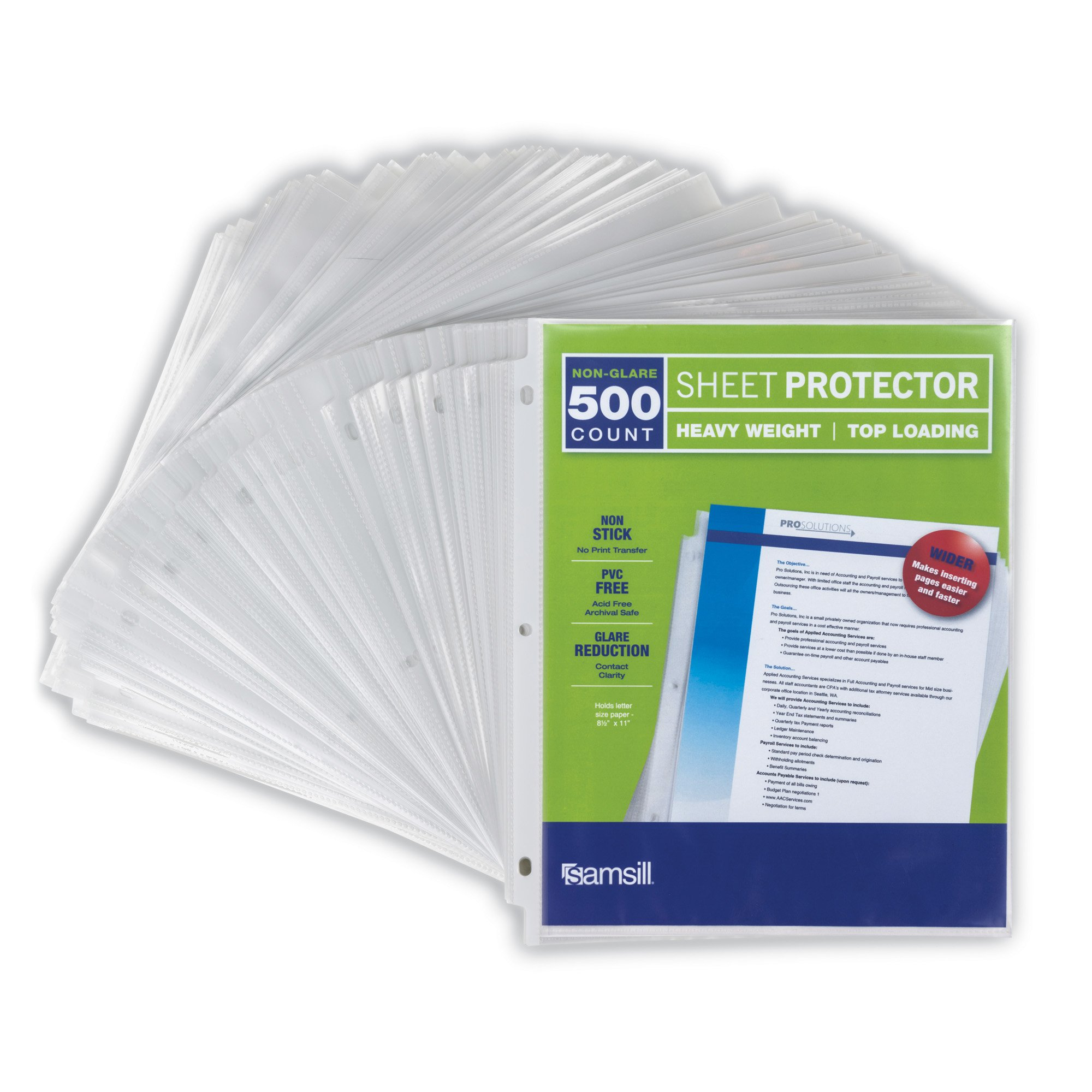 """Samsill Non-Glare Heavyweight 3.3 MIL Thickness, Top Loading Reinforced 3 Hole Punched Sheet Protectors, Archival Safe Won't Harm Photos or Printed Copy, for 8.5 x 11"""" Documents, Box of 500, Acid Free by Samsill"""
