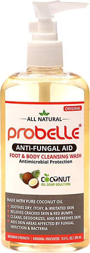 Probelle Natural Fungal Cleansing Wash, Aids Skin Areas Affected by Fungal Infection & Bacteria. Maximum Strength, Original Unscented. 9.5 oz/ 280 mL
