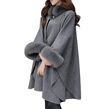 Longra Mujer Poncho - Chaquetas para Mujers, Mujer Invierno Abrigo de Capa de Lana Mezcla de Lana con Fur