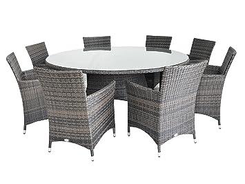 Table En Figari Cm Luxe À Assise 180 Ronde Ensemble Rotin 8 Salle De rBdeoCx