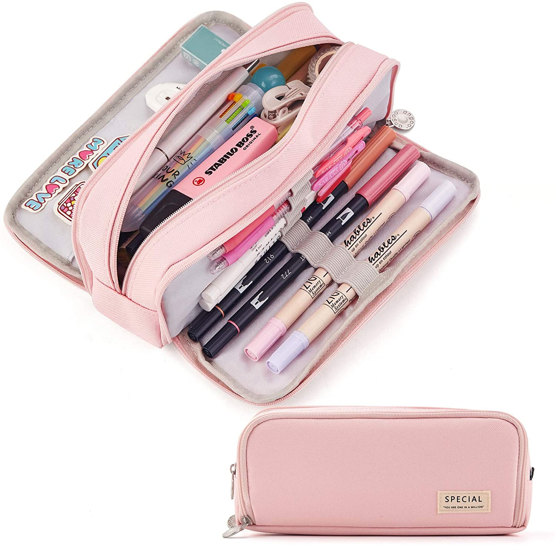 CICIMELON Large Capacity Pencil Case 3 Compartment Pouch Pen Bag for School Teen Girl Boy Men Women (Pink)