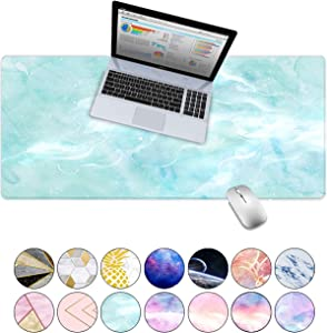 "LuvCase Desk Pad, Office Desk Mat, 35.4"" x 15.7"" PU Leather Desk Blotter, Laptop Desk Mat, Waterproof Desk Writing Pad for Office and Home Decor, Thick Gaming Mouse Pad (Mint Marble)"