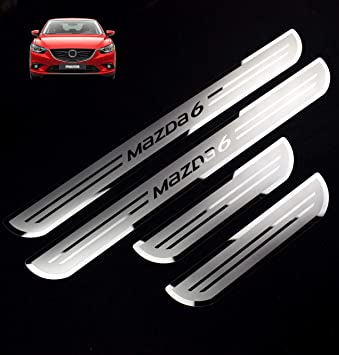 Stainless Steel Door Sill Scuff Plate Guard Cover Trim Fit For Mazda 3 2014-2018