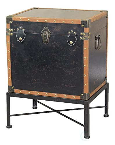 Vintiquewise Faux Leather Trimmed Square Storage Trunk, End Table on Metal Stand