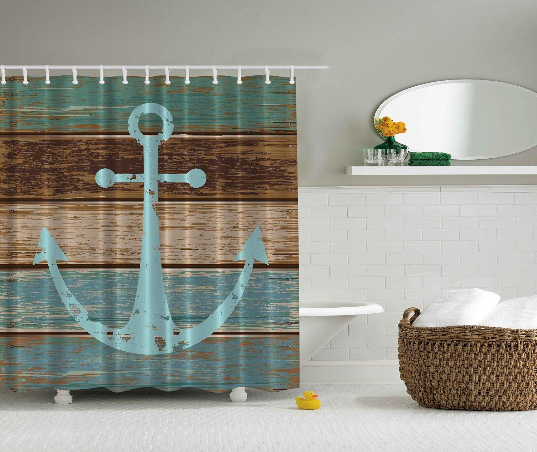 BBFhome ourlet lesté mer ancre bois rustique - rideau de douche - l'eau, résistant à la moisissure et du savon - Lavage en machine - crochets de douche sont inclus 120x180 CM yifyoung