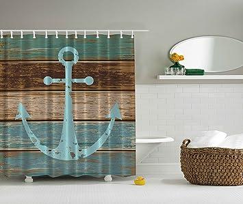 BBFhome ourlet lesté mer ancre bois rustique - rideau de douche - l ...