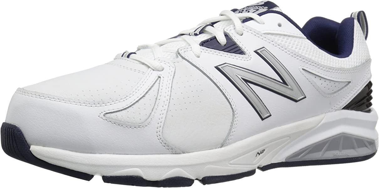 cd3b04f61f4e6 New Balance Men's mx857v2 Casual Comfort Training Shoe, White/Navy, ...
