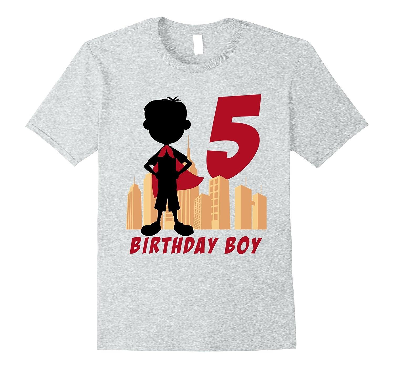 Kids 5th Birthday Comic Superhero T Shirt For 5 Yr Old Boys TH