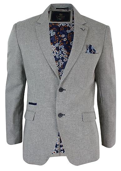 Cavani Mens Beige Tailored Fit Smart Casual Blazer Jacket Navy Blue