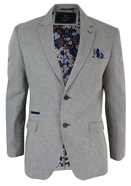 a13e2e4ea521 Mens Cream Beige Tailored Fit Smart Casual Blazer Jacket Navy Blue Trim:  Amazon.co.uk: Clothing