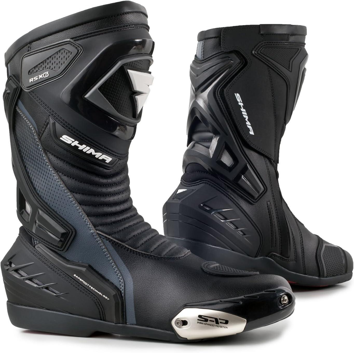 Noir en Cuir Style r/étro Vintage pour Homme Sport Bottes Shima pour Moto