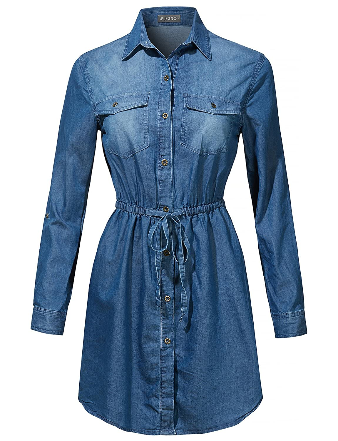 Le3no Womens Classic Loose Fit Chambray Jean Denim Shirt Dress With